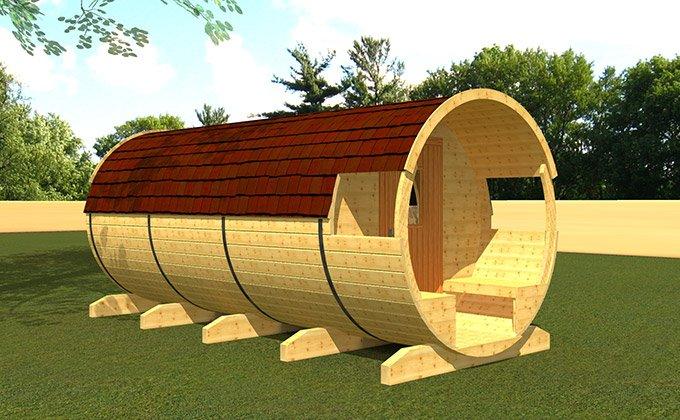 Casuta camping din lemn tip butoi